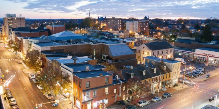 lancaster city at night